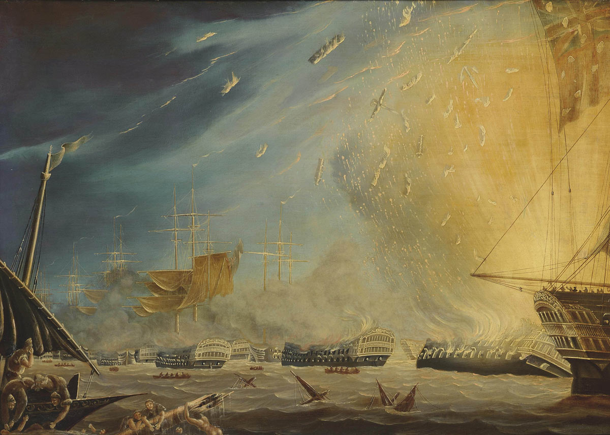 French Flagship L'Orient explodes at the Battle of the Nile on 1st August 1798 in the Napoleonic Wars: picture by Robert Dodd