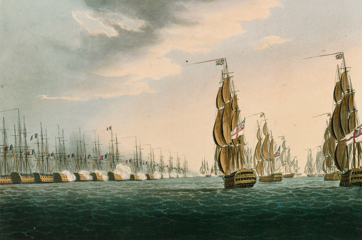 Opening of the Battle of the Nile on 1st August 1798 in the Napoleonic Wars: picture by Thomas Whitcombe: buy this picture