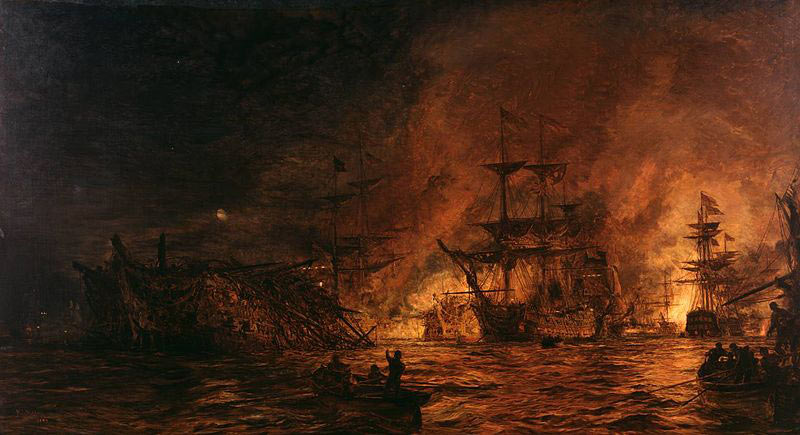 The Battle of the Nile on 1st August 1798 in the Napoleonic Wars: picture by William Lionel Wyllie