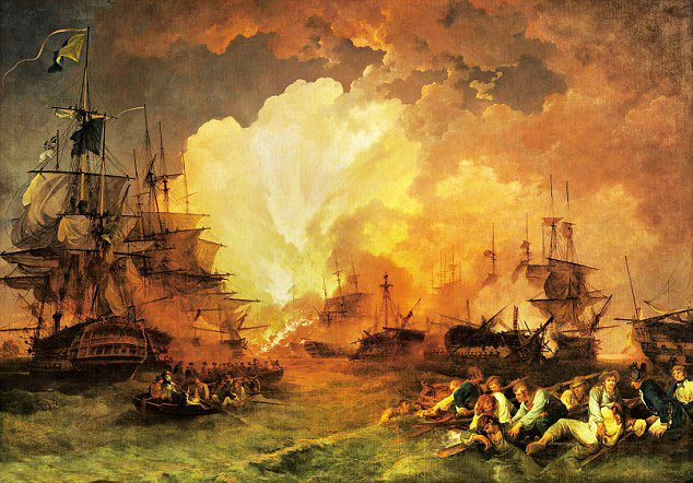 French Flagship L'Orient explodes at the Battle of the Nile on 1st August 1798 in the Napoleonic Wars