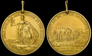 Gold Davison Medal commemorating the Battle of the Nile on 1st August 1798 in the Napoleonic Wars