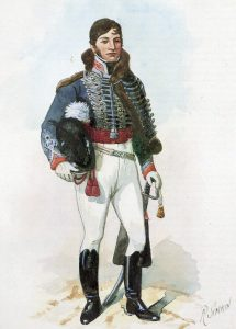 Officer 16th Light Dragoons: Battle of Talavera on 28th July 1809 in the Peninsular War: picture by Richard Simkin