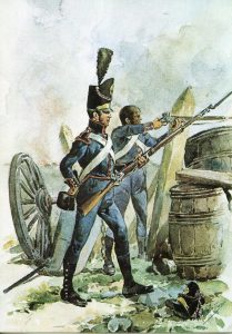Portuguese artillery: Battle of Busaco on 27th September 1810 in the Peninsular War
