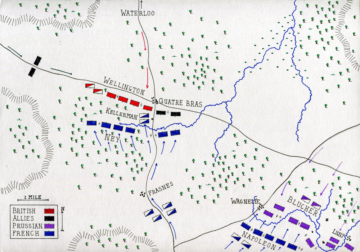 Map of the Battle of Quatre Bras on 16th June 1815 during the Napoleonic Wars: map by John Fawkes