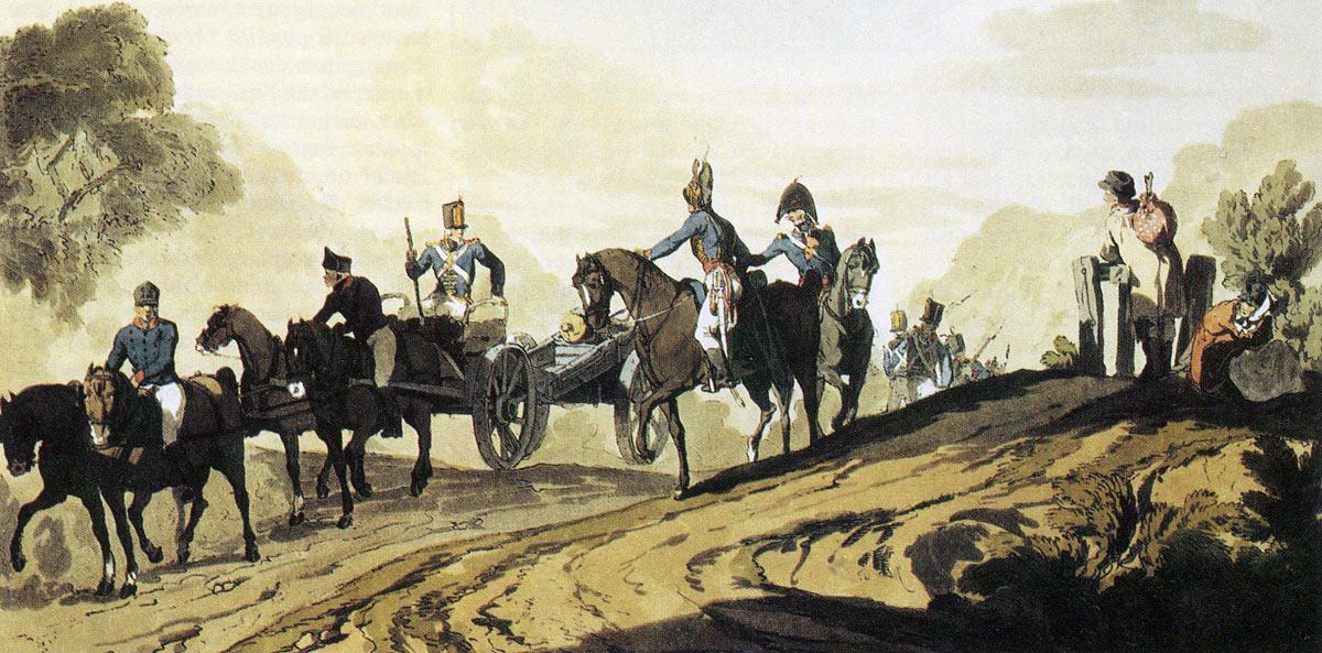 Royal Artillery gun: Battle of Vimeiro on 21st August 1808 in the Peninsular War: picture by J.A. Atkinson