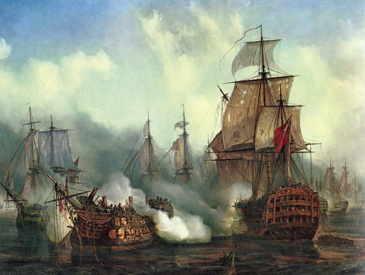 French ship Redoutable dismasted and sinking at the Battle of Trafalgar on 21st October 1805 during the Napoleonic Wars: picture by Auguste Mayer: buy this picture
