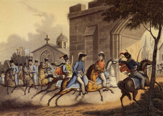 Lord Wellington entering the city after the Battle of Salamanca on 22nd July 1812 during the Peninsular War