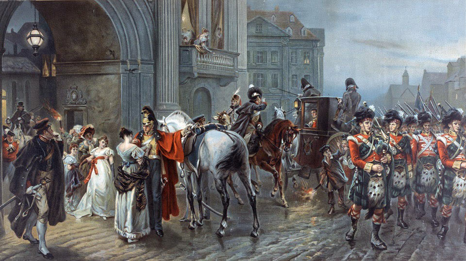 British officers leaving the Duchess of Richmond's Ball in the early hours of 16th June 1815 for the Battles of Quatre Bras and Waterloo: picture by Robert Alexander Hillingford: buy this picture