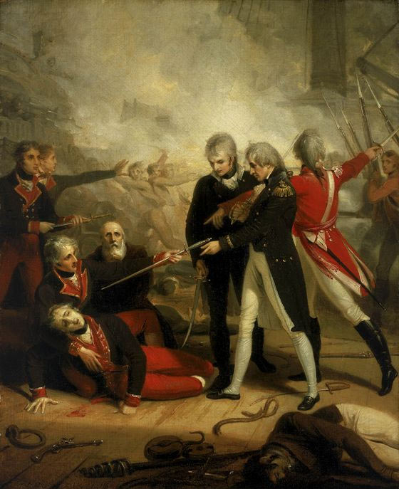 Nelson accepting the surrender of the San Nicolas at the Battle of Cape St Vincent on 14th February 1797 in the Napoleonic Wars: picture by R. Golding: buy this picture in black and white