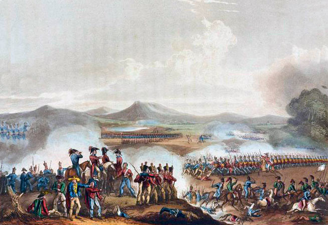 Battle of Talavera on 28th July 1809 in the Peninsular War: picture by William Heath