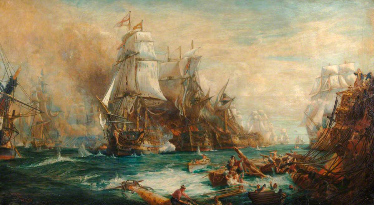 Battle of Trafalgar on 21st October 1805 during the Napoleonic Wars: picture by William Lionel Wyllie