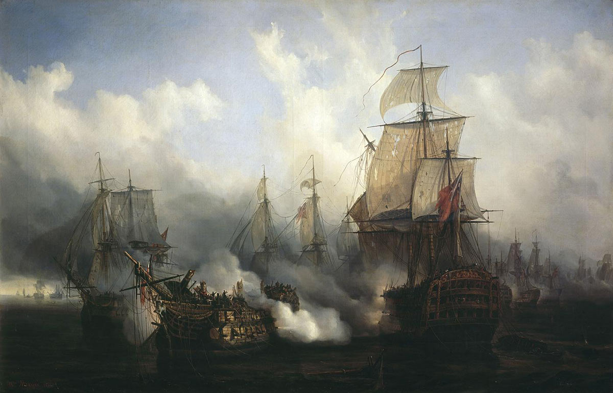 Ships in action (Bucentaure and Temeraire) at the Battle of Trafalgar on 21st October 1805 during the Napoleonic Wars: picture by Auguste Mayer