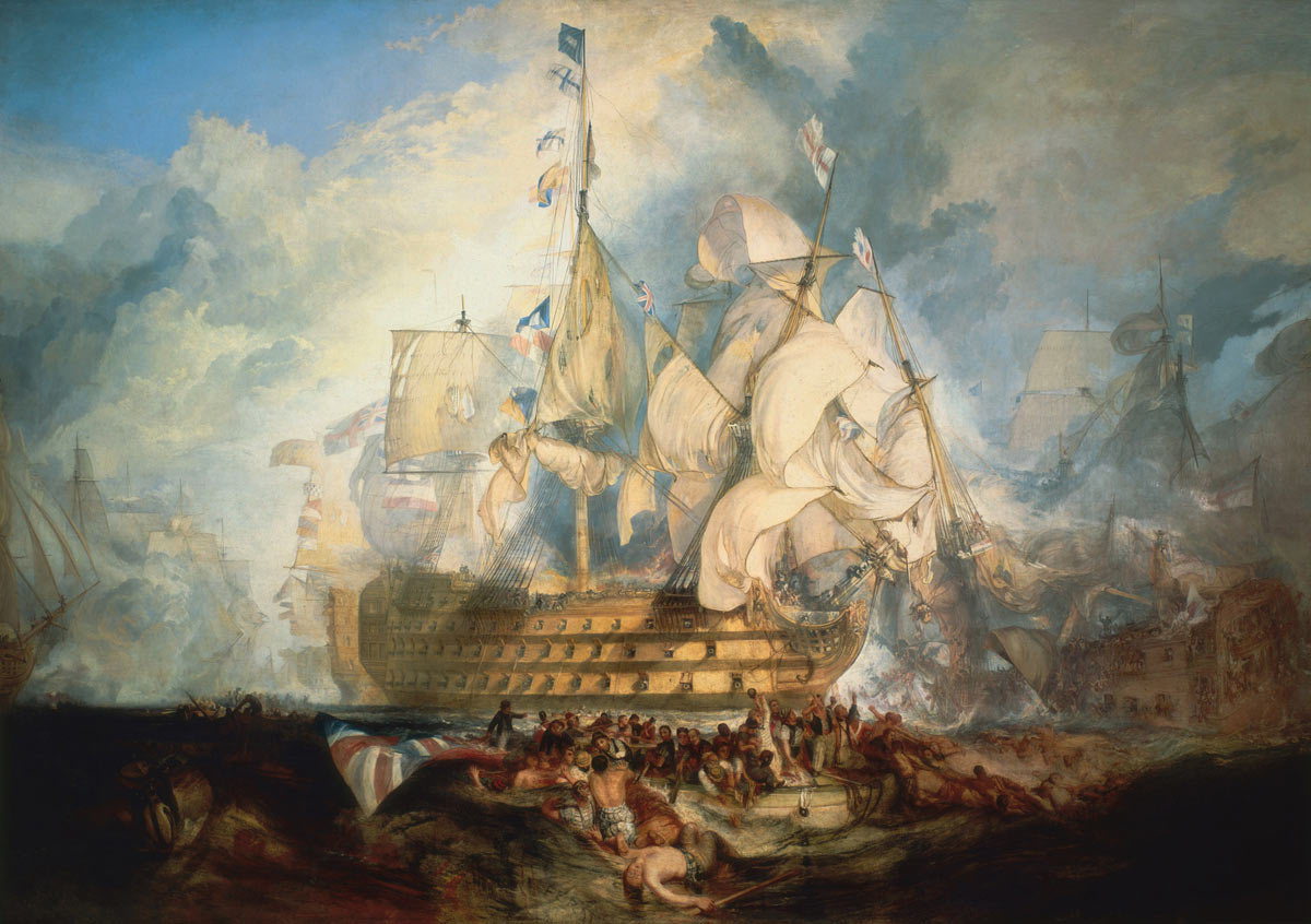 HMS Victory in action at the Battle of Trafalgar on 21st October 1805 during the Napoleonic Wars: picture by Joseph Malord William Turner: buy this picture