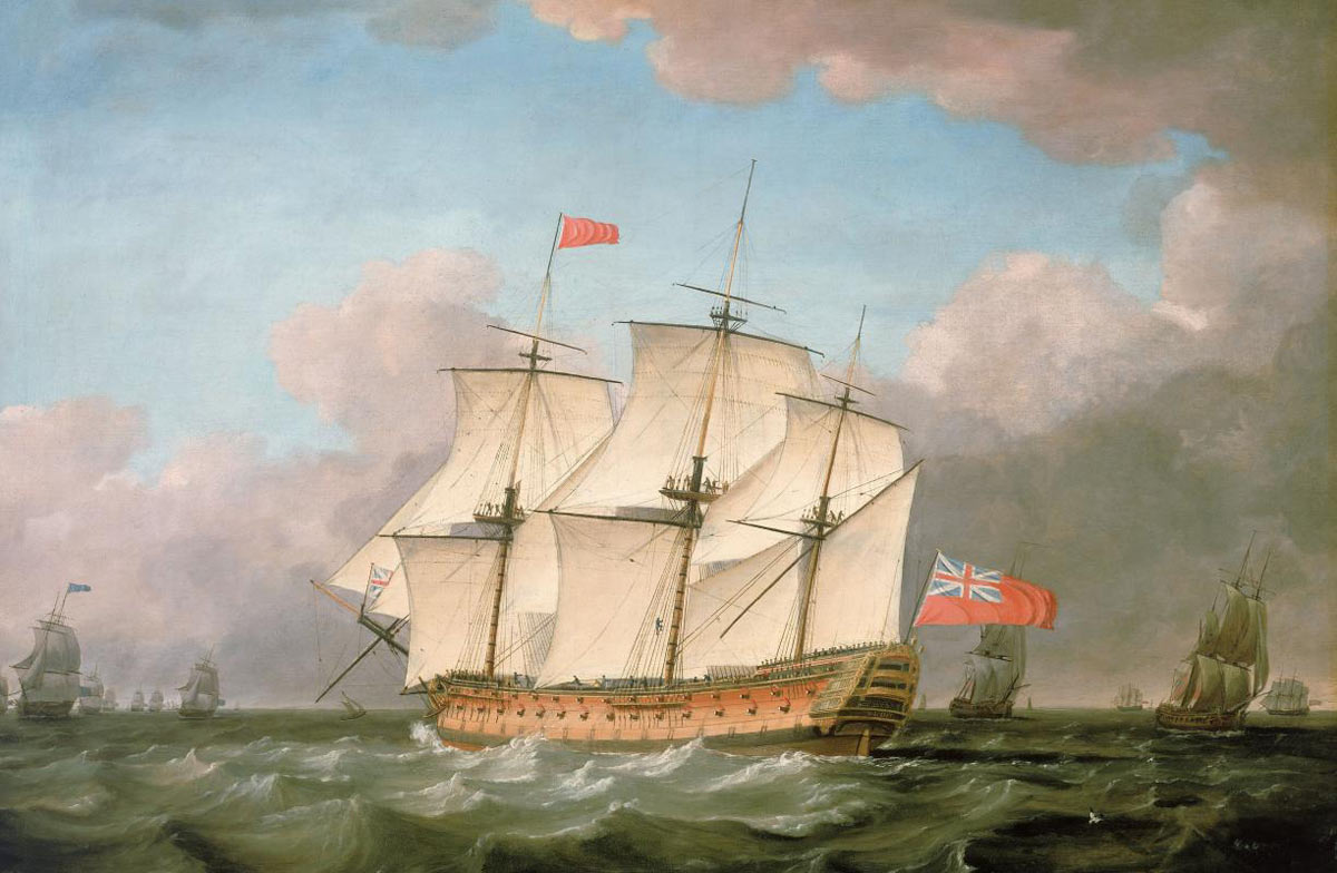 HMS Victory at sea: Battle of Trafalgar on 21st October 1805 during the Napoleonic Wars: picture by Monamy Swaine
