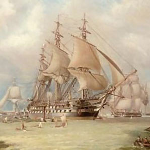 HMS Edgar: Battle of Copenhagen on 2nd April 1801 in the Napoleonic Wars: picture by W.T. Baldwin