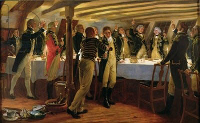 Dinner in the wardroom of HMS Elephant the night before the Battle of Copenhagen on 2nd April 1801 in the Napoleonic Wars: picture by Thomas Davidson