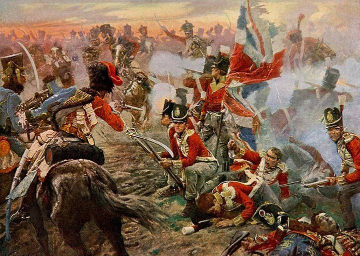 French cavalry attacking a British square at the Battle of Quatre Bras on 16th June 1815