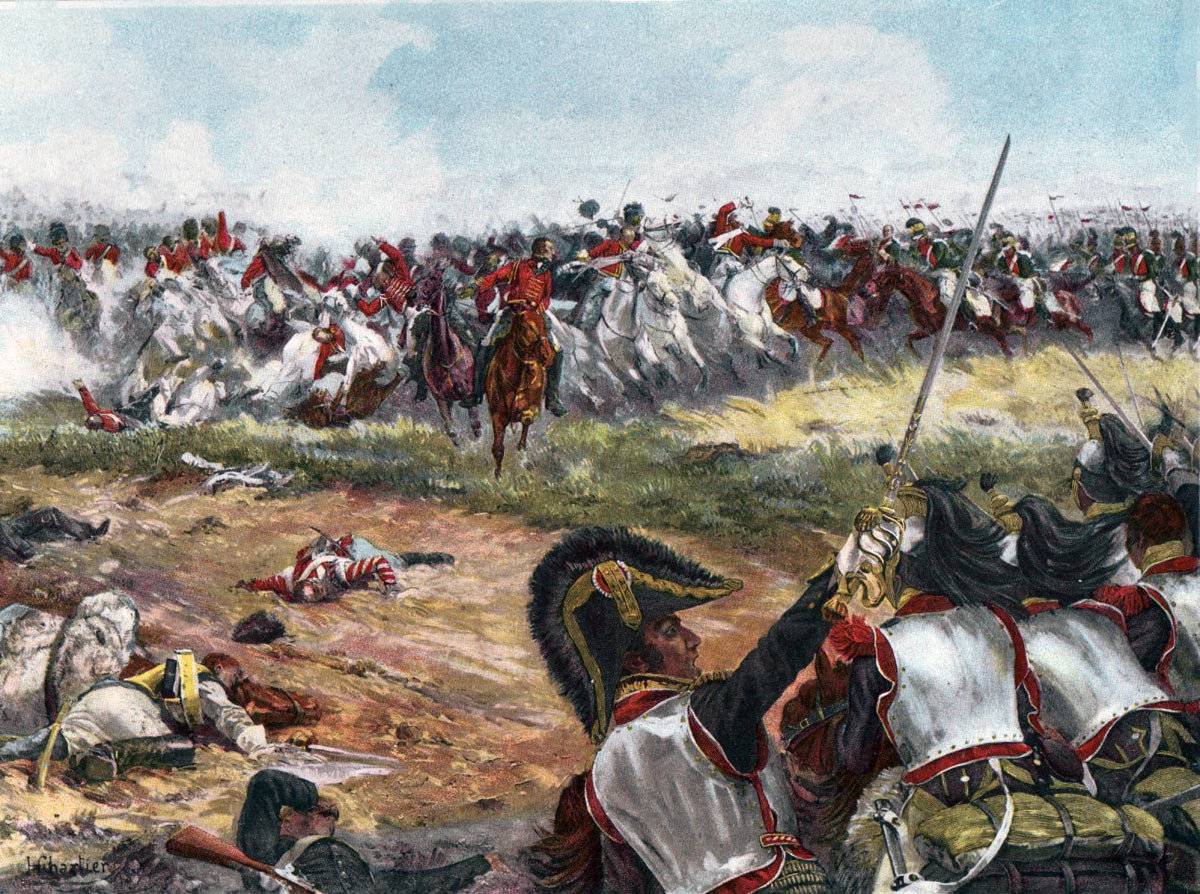 The British Union Brigade counterattacked by French Cuirassiers and Lancers at the Battle of Waterloo on 18th June 1815: picture by Chartier