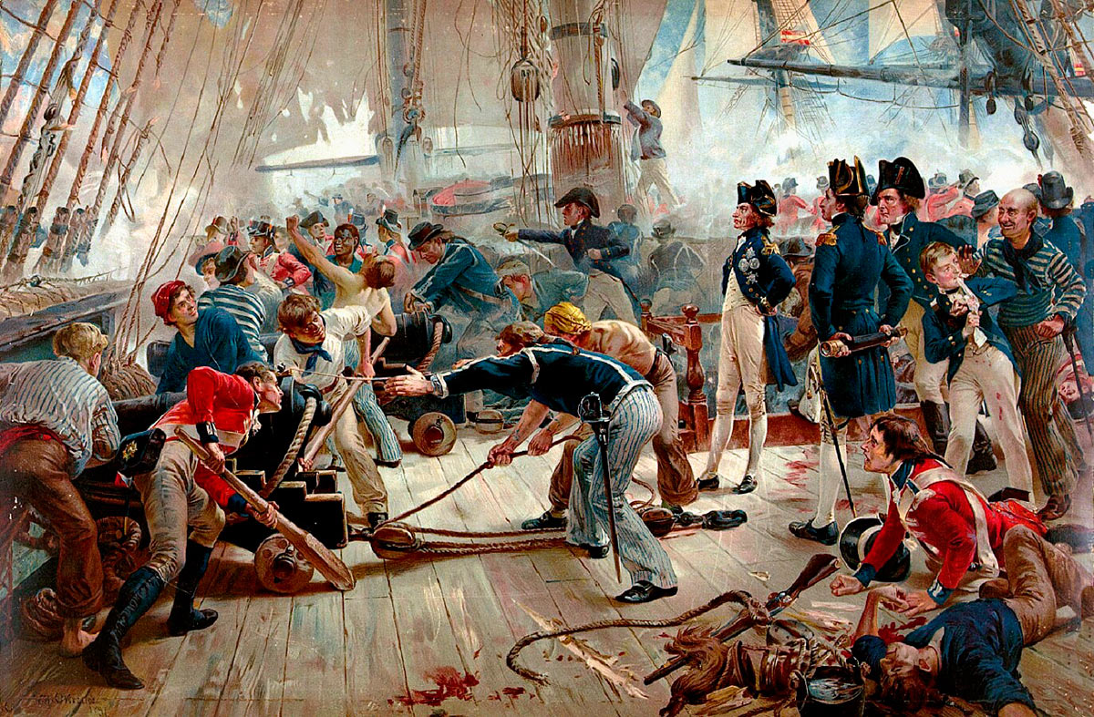 Nelson on the deck of HMS Victory at the Battle of Trafalgar on 21st October 1805 during the Napoleonic Wars: picture by William Heysham Overend