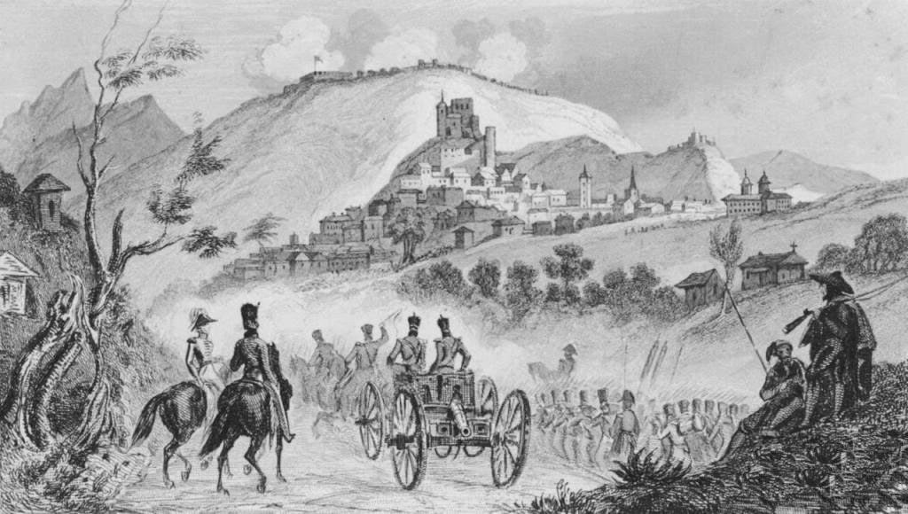 British withdrawal to the Lines of Torres Vedras: Battle of Busaco on 27th September 1810 in the Peninsular