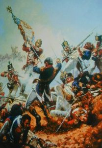 Sergeant Masterson of the 87th Foot capturing the first French eagle taken in war by the British: Battle of Barossa on 5th March 1811 in the Peninsular War
