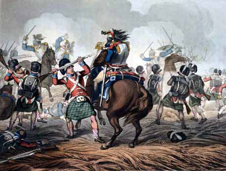 Highlanders fighting French cuirassiers at the Battle of Fuentes de Oñoro 3rd to 5th May 1811 in the Peninsular War