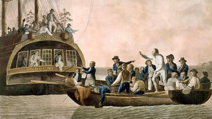 Captain Bligh being cast adrift after the Mutiny on the Bounty in 1789: Bligh commanded HMS Gratton at the Battle of Copenhagen on 2nd April 1801 in the Napoleonic Wars