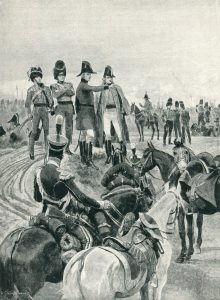 Wellington instructing Pakenham to begin the attack on the French columns at the Battle of Salamanca on 22nd July 1812 during the Peninsular War: picture by Richard Caton Woodville: buy this picture