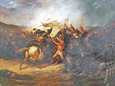 Lieutenant Latham defending the King's Colour of 3rd Old Buffs: Battle of Albuera on 16th May 1811 in the Peninsular War: picture by Major Thomas S. Seccombe