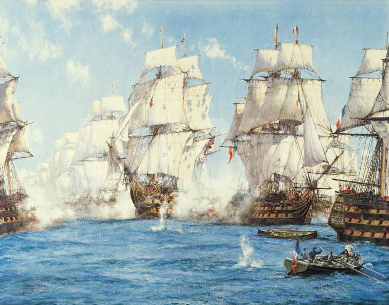 Battle of Trafalgar on 21st October 1805 during the Napoleonic Wars: picture by Montague Dawson: buy this picture