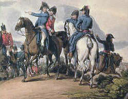 Lord Wellington and his staff at the Battle of Salamanca on 22nd July 1812 during the Peninsular War