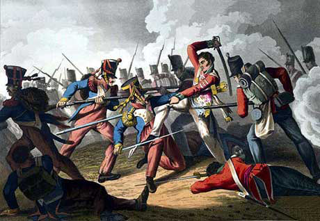 Sergeant Masterson of the 87th Regiment capturing the eagle of the French 8th of the Line at the Battle of Barossa on 5th March 1811 in the Peninsular War
