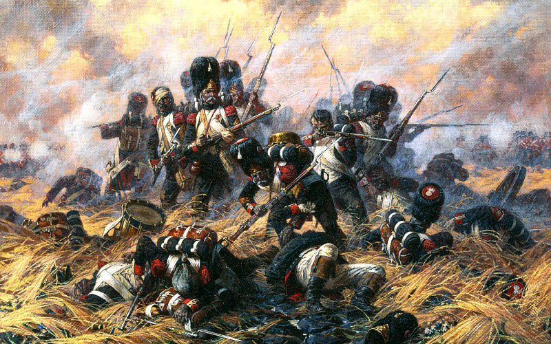 The last stand of the French Imperial Guard at the Battle of Waterloo on 18th June 1815
