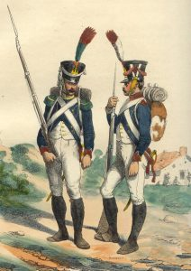 Tirailleur and Voltigeur of the French Infantry: Battle of Salamanca on 22nd July 1812 during the Peninsular War: picture by Hippolyte Belangé