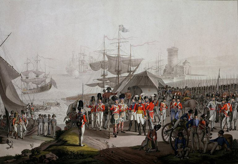 Sir Arthur Wellesley landing at Lisbon before the Battle of the Crossing of the Douro on 16th May 1809 in the Peninsular War