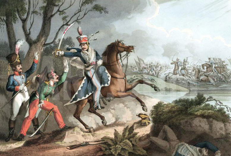 Corporal Logan of 13th Light Dragoons capturing two French Officers: Battle of Albuera on 16th May 1811 in the Peninsular War: buy this picture