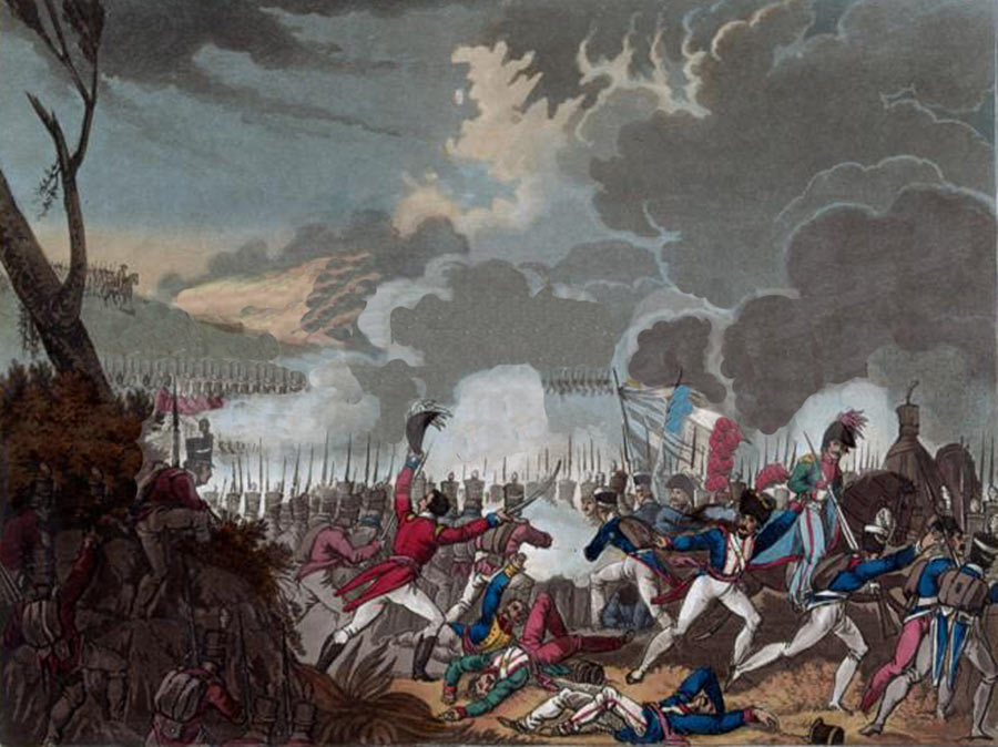 Battle of Busaco on 27th September 1810 in the Peninsular War: picture by William Heath: buy this picture