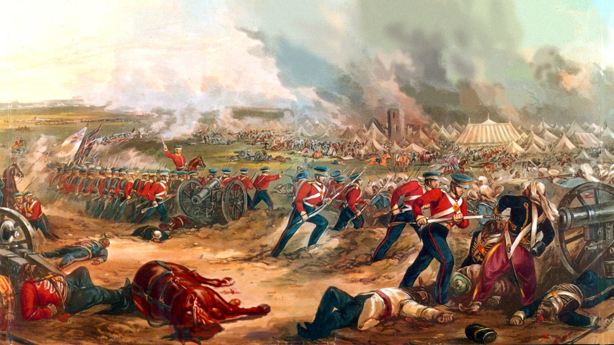The British attack the Sikh Camp at the Battle of Ferozeshah on 22nd December 1845 during the First Sikh War: picture by Henry Martens