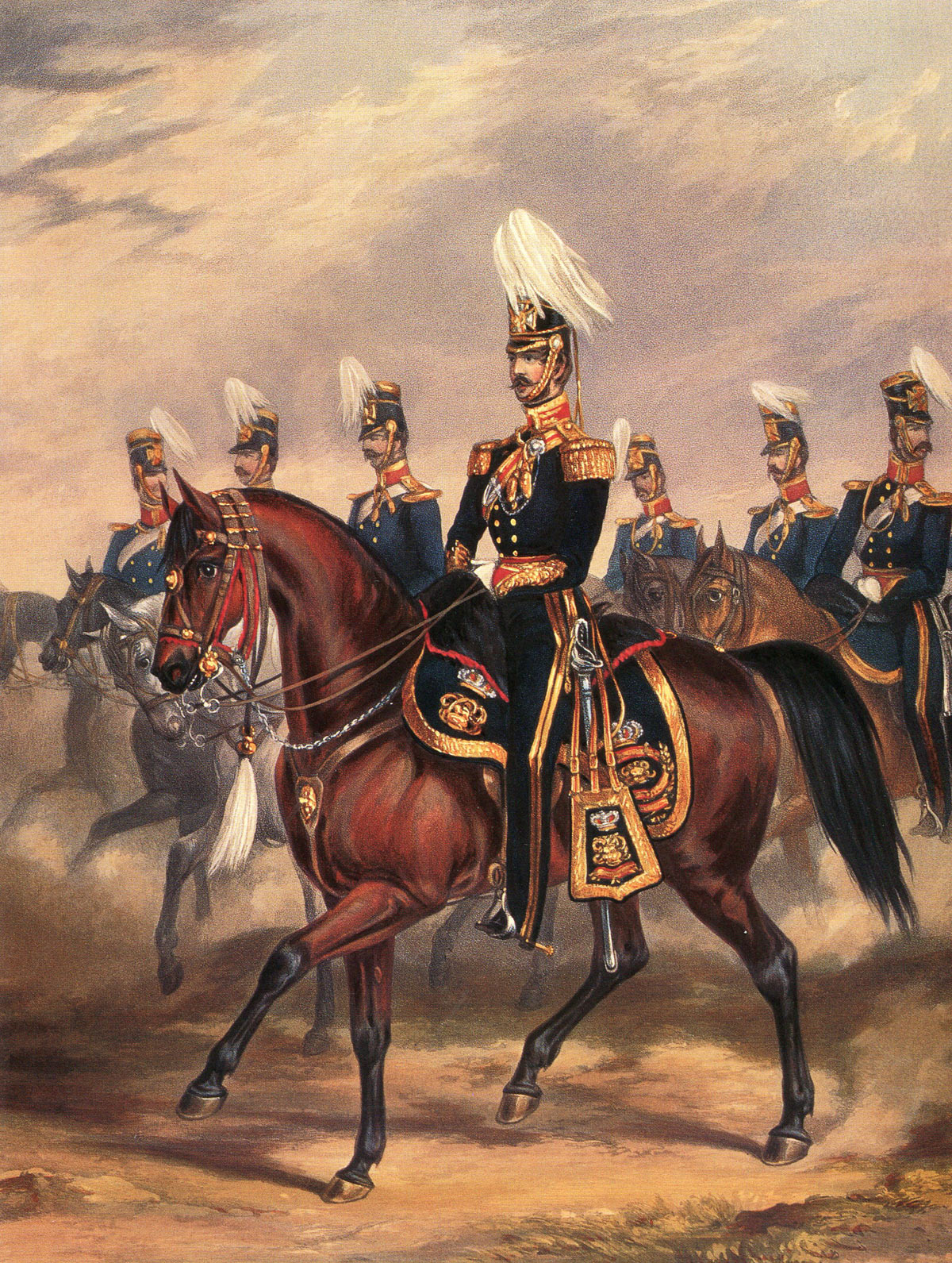 14th King's Light Dragoons at the Battle of Ramnagar on 22nd November 1848 during the Second Sikh War: print by Ackermann