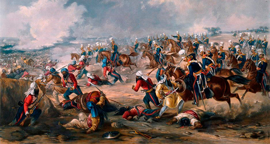 14th Light Dragoons charging at the Battle of Ramnagar on 22nd November 1848 during the Second Sikh War