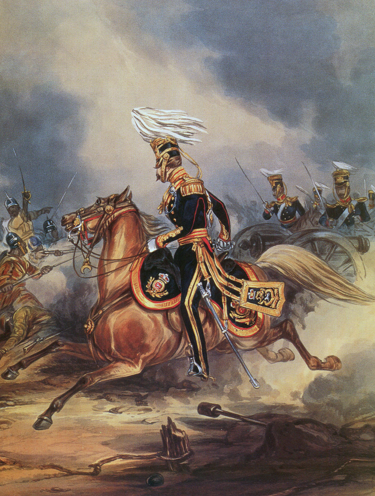 3rd King's Light Dragoons at the Battle of Sobraon on 10th February 1846 during the First Sikh War: print by Ackermann