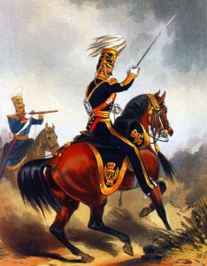 HM 4th Light Dragoons (Hussars): Battle of Ghuznee on 23rd July 1839 in the First Afghan War: print by Ackermann