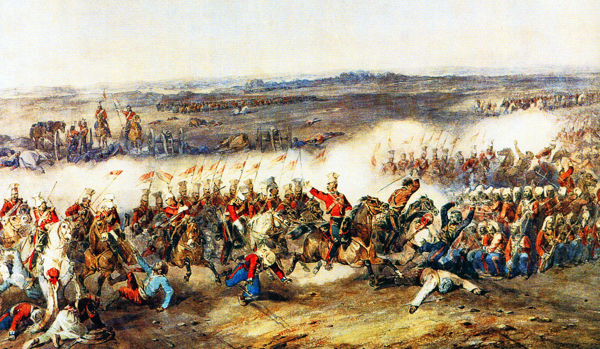 The Charge of the 16th Queen's Lancers at the Battle of Aliwal on 28th January 1846 in the First Sikh War: first picture by Orlando Norie