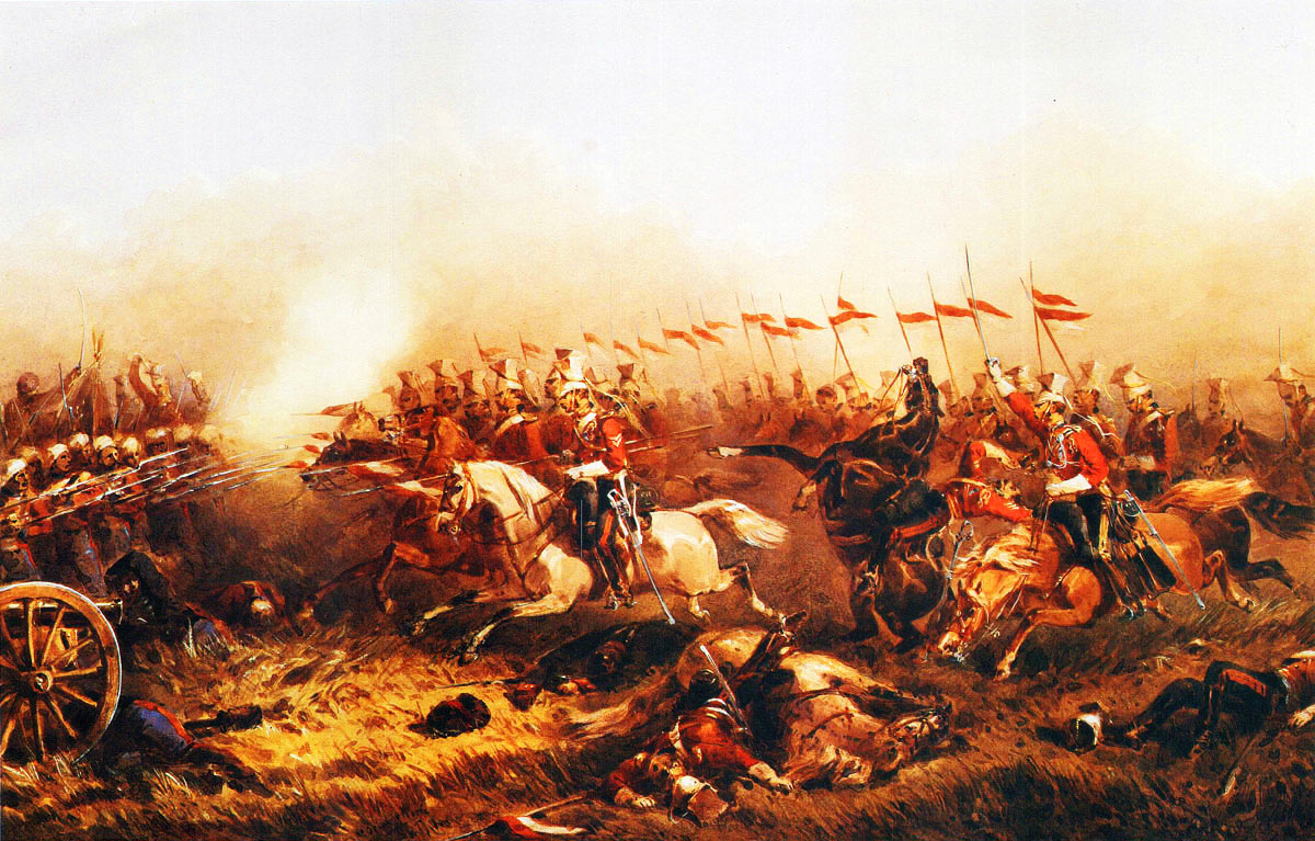 The Charge of the 16th Queen's Lancers at the Battle of Aliwal on 28th January 1846 in the First Sikh War: second picture by Orlando Norie: Sergeant Newsome is in the foreground