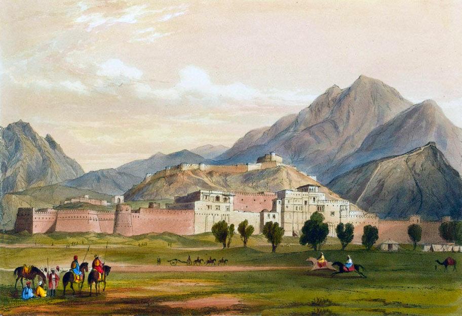 Balar Hissar Fortress at Kabul: Battle of Kabul and Retreat to Gandamak 1842 during the First Afghan War