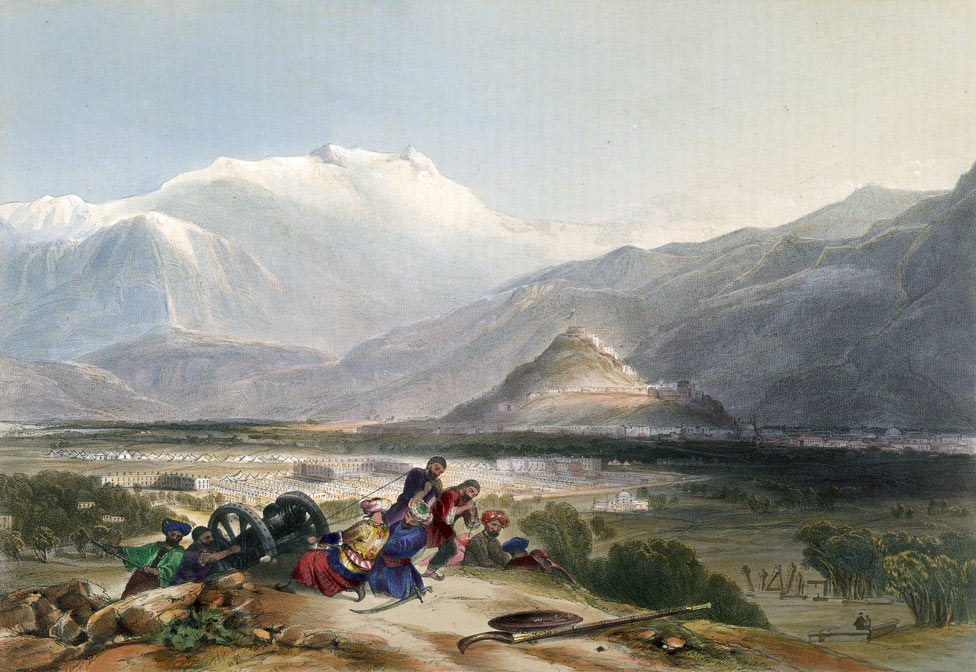Balar Hissar Fortress and the city of Kabul: Battle of Kabul and Retreat to Gandamak 1842 during the First Afghan War