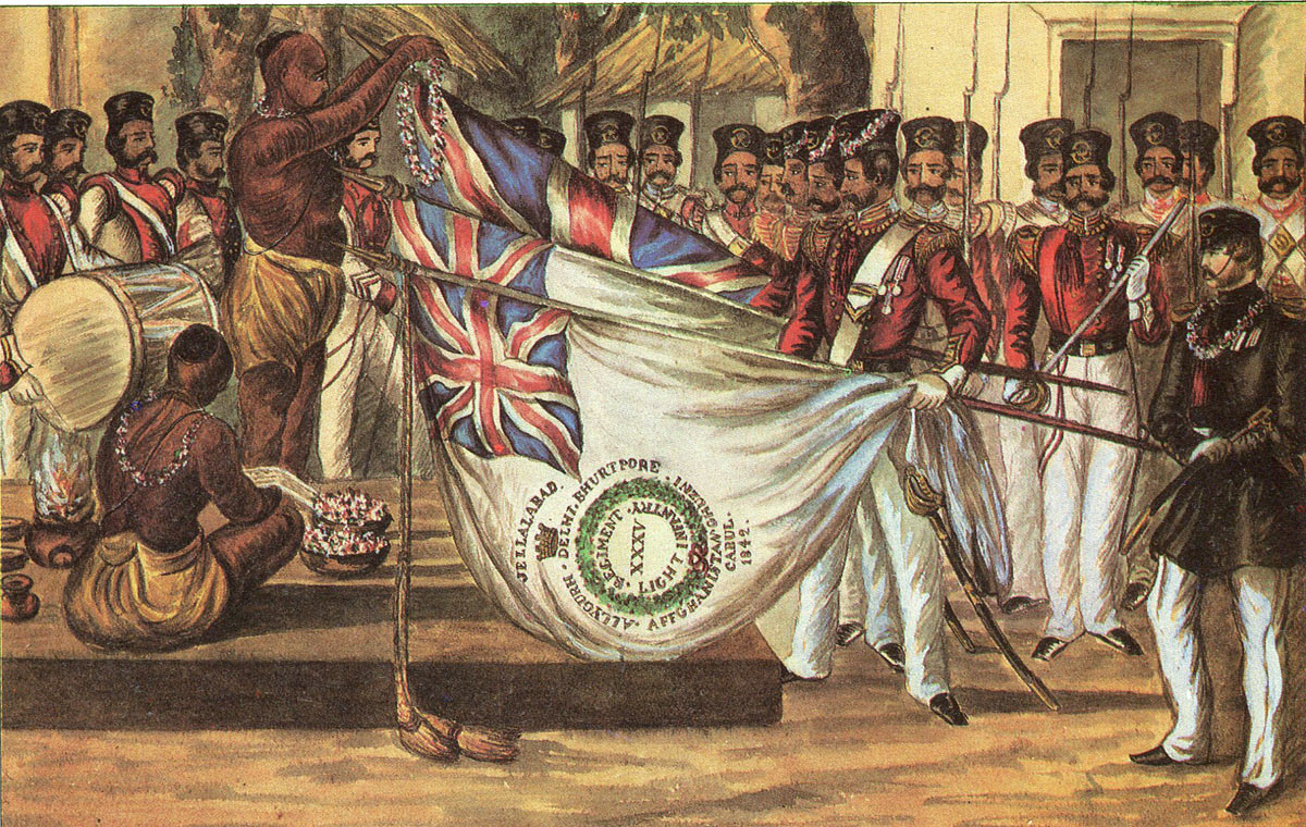 Bengal Native Infantry blessing their colours before the Regimental Brahmin: Battle of Chillianwallah on 13th January 1849 during the Second Sikh War
