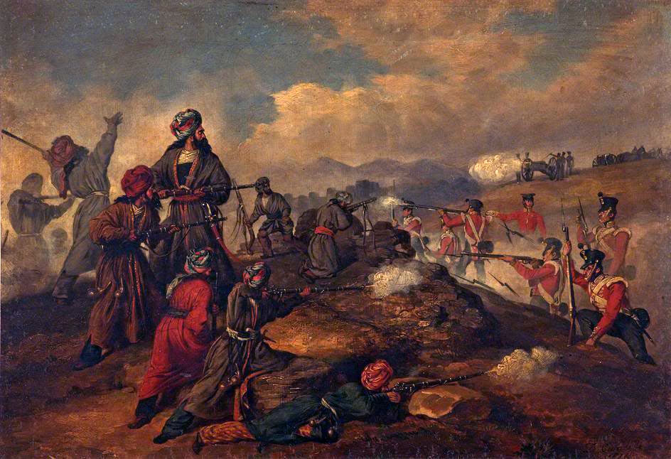 British storming Afghan position at Huft Kotal: Battle of Kabul 1842 in the First Afghan War
