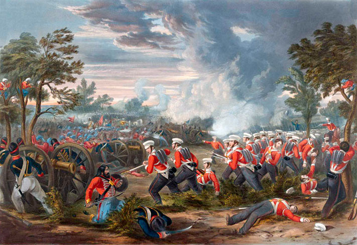 The British infantry attack at the Battle of Moodkee on 18th December 1845 during the First Sikh War: picture by Henry Martens