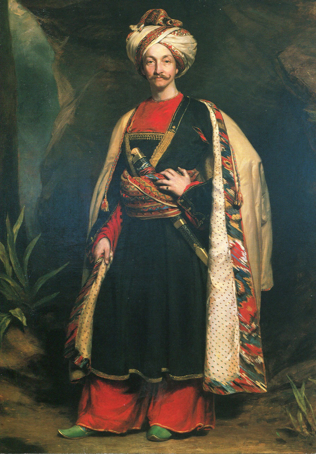 Captain Colin Mackenzie of the Madras Army in the Afghan costume he adopted to escape from captivity: Battle of Kabul 1842 in the First Afghan War